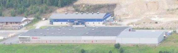 Flygfoto över Åsbo Hus husfabrik.