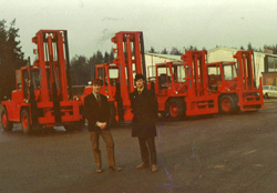 Four Red Lifting Trucks from Ljungby and Brothers Andersson sold the business to Kalmar Industries.