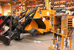 All tillverkning av hjullastarna sker i fabriken i Ljungby.