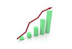 Stapeldiagram som visar ökande försäljning.
